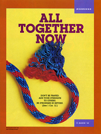 "A conceptual photograph of the end of a frayed red and blue rope, paired with the words ""All Together Now."""