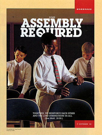 "An image of three young men straightening folding chairs, paired with the words ""Some Assembly Required."""