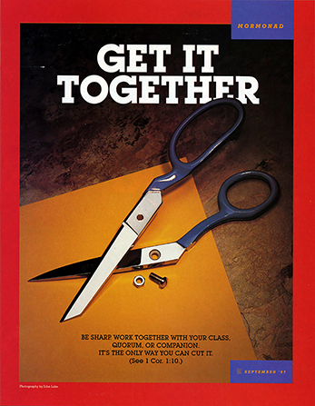 "An image of a pair of broken scissors on a table, paired with the words ""Get It Together."""