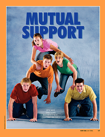 "An image of youth kneeling in a pyramid formation with an individual missing from the bottom row, paired with the words ""Mutual Support."""