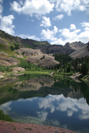 A landscape image of a mountain and trees reflected in a lake.