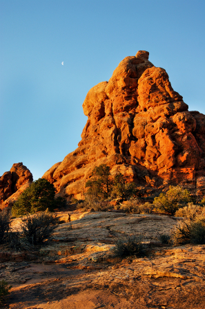 Red rocks bordered with green brush and the moon in the blue sky.