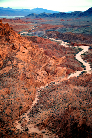 A river flowing through Fire State Park in Nevada.