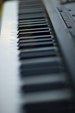An image of the black and white keys of an electronic keyboard.