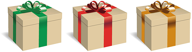 A graphic of three brown gift boxes wrapped in red, green, and gold ribbons.