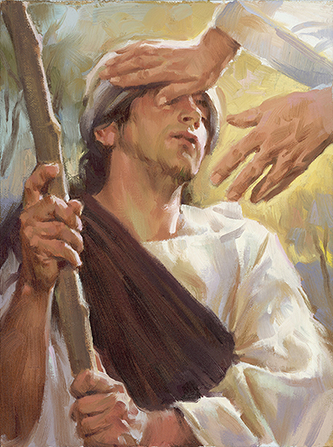 A painting showing Christ placing His hands on the eyes of a blind man.