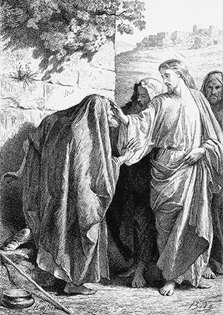 A black-and-white illustration of Christ talking with a leper.