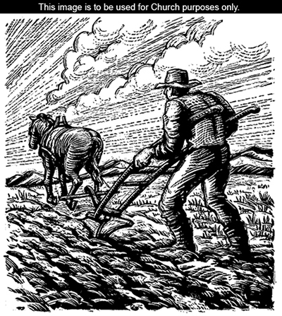 A black-and-white illustration of a man walking behind a horse and plowing a field.