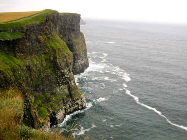 Tall cliffs along the Moher coastline in Ireland.