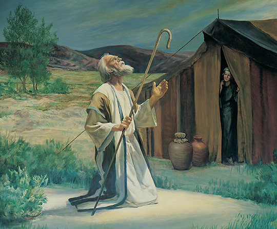 A painting by Grant Romney Clawson of Abraham holding a staff while kneeling in prayer on the plains of Mamre, with his wife Sarah watching from a tent.