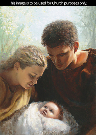 A painting by Jay Bryant Ward of Adam and Eve holding a child wrapped in a white blanket.