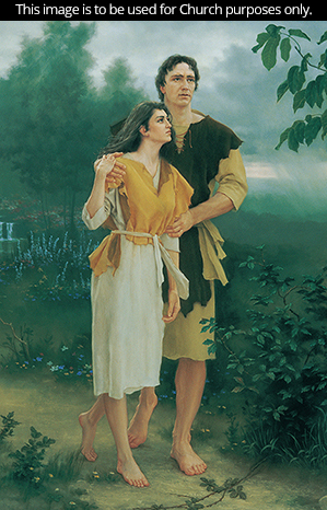 A painting by Joseph Brickey of Adam and Eve walking together down a path bordered by green trees and bushes.