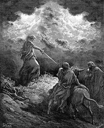 An engraving by Paul Gustave Doré showing an angel pointing a sword toward Balaam.