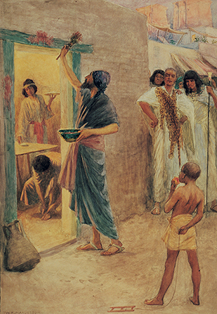 A painting by W. H. Margetson of an Israelite man painting blood over the door of his home in preparation for the Passover, with others watching nearby.