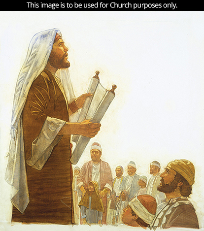 A painting by Robert T. Barrett showing a man holding a white scroll and reading to a large group of boys and men.
