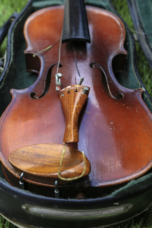 A violin with broken strings lying in a case on a patch of grass.