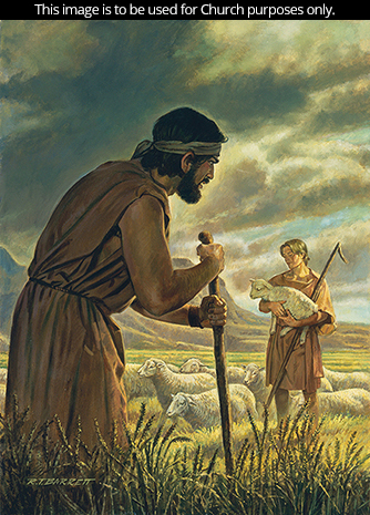 A painting by Robert T. Barrett of Cain leaning on a staff and Abel holding a lamb, with storm clouds gathering overhead.