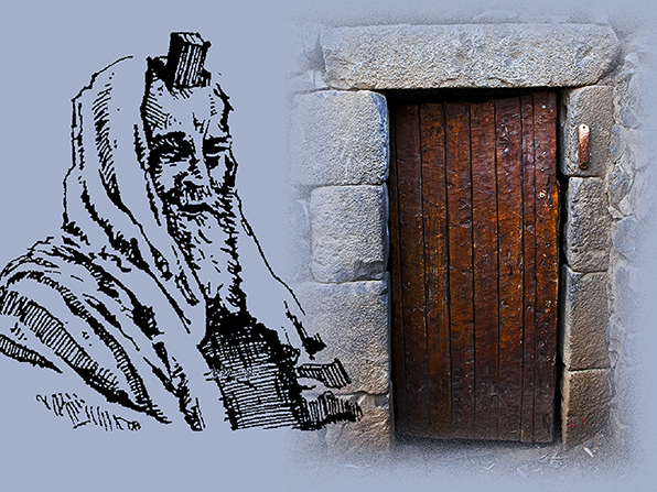 A drawing of a man wearing a phylactery next to a photograph of a wooden door with a mezuzah on the stone door frame.