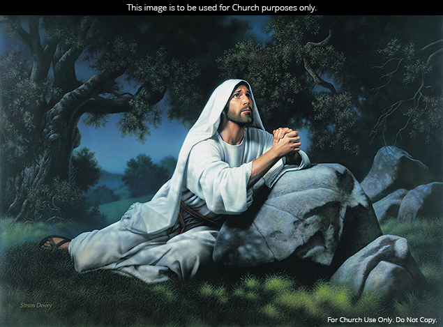A painting by Simon Dewey showing Jesus Christ kneeling in the Garden of Gethsemane in prayer.