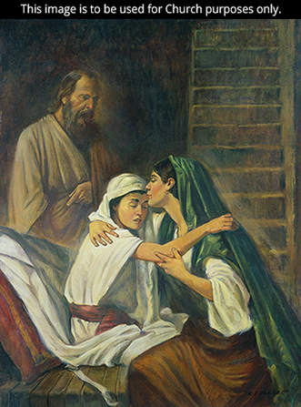 A painting by Robert T. Barrett showing the widow of Zarephath kissing her son, who has just been raised from the dead by Elijah.