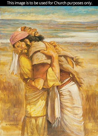 A painting by Robert T. Barrett of Esau and Jacob tightly embracing each other, with a desert landscape in the background.