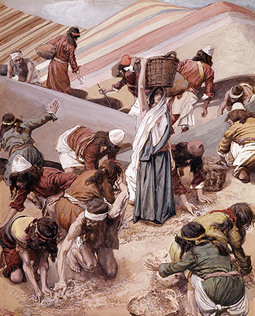 A painting by James Tissot showing a large group of Israelites gathering manna into baskets among rows of sand dunes.