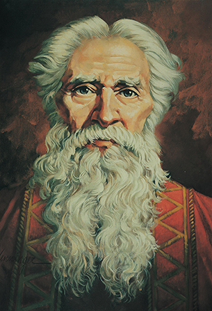 A painting by Ted Henninger depicting Isaiah with a long white beard, wearing a red and gold robe.