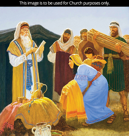 A painting by Gary L. Kapp showing the Israelites gathering donations of goods and clothing.