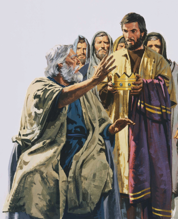A painting by Paul Mann depicting a group of Israelites holding out a golden crown toward Samuel.