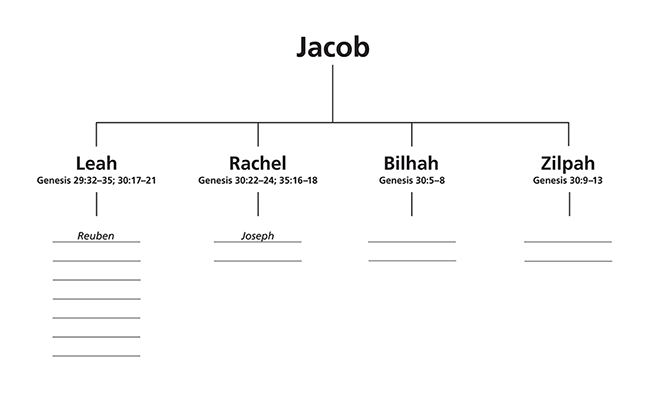 A pedigree worksheet starting with Jacob and his four wives, with lines provided underneath to write the names of Jacob's children.