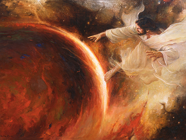 A painting by Walter Rane of Jesus Christ dressed in a white robe with His arms and hands reaching out to the earth.