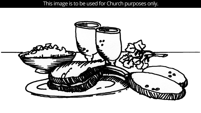 A black-and-white illustration by Sherry Meidell of Passover foods served on a plate, in a bowl, and in goblets.
