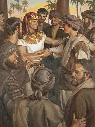 A painting by Michael T. Malm of Joseph of Egypt standing and greeting his brothers.