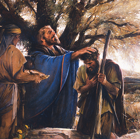 A painting by Walter Rane of Melchizedek placing his hands on Abram's head while giving him a blessing, with another man standing nearby.