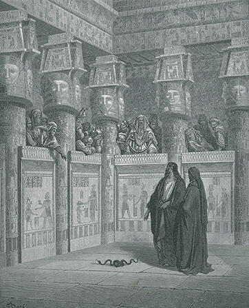 A black-and-white drawing by Paul Gustave Doré of Moses and his brother, Aaron, standing in Pharaoh's court next to a serpent.