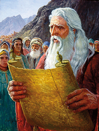 A painting by Clark Kelley Price of Moses reading to a large group of people from a long scroll.