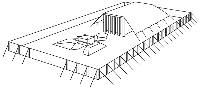 A black-and-white line drawing of the tabernacle used by the Israelites in the wilderness.