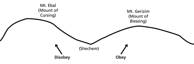 "A line drawing showing Mount Ebal and Mount Gerizim with a dip between them labeled ""Shechem."""