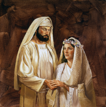 A painting of a New Testament–era bride and groom against a brown background.