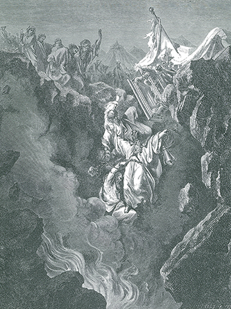 An engraving by Paul Gustave Doré showing the earth opening up to engulf Korah, Dathan, and Abiram.