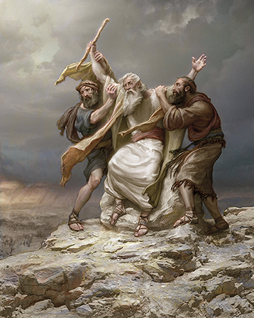 A painting by Joseph Brickey of Moses sitting on a rock with his arms being held up by Aaron and Hur.