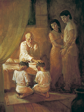 A painting by D. Keith Larson of Israel sitting on a bed and blessing Ephraim, who is kneeling beside Manasseh on the floor, with Joseph and his wife standing nearby.