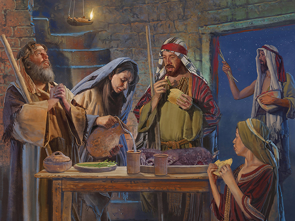 A painting by Brian Call of men and women standing by a table and eating the Passover feast.