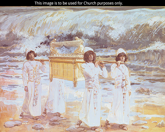 A painting by James Tissot depicting the ark of the covenant being carried over the Jordan River by four men in white robes.