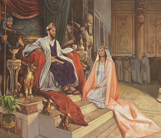 A painting by Sam Lawlor showing Queen Esther wearing a long pink robe kneeling before the King's throne.
