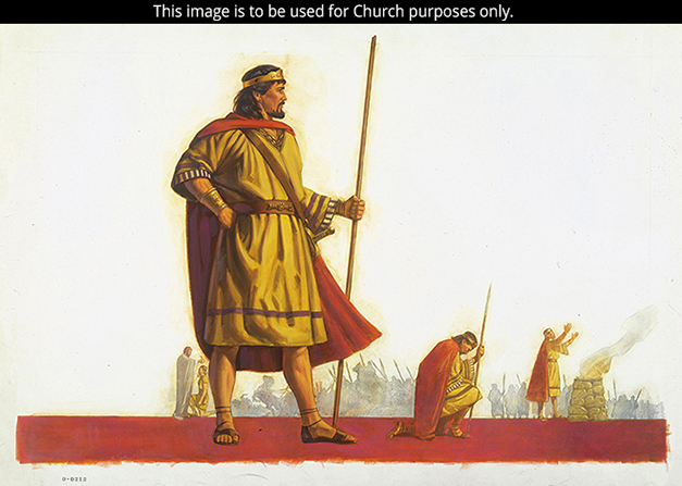 A painting by Robert T. Barrett showing King Saul in a red cape, holding a long wooden staff.