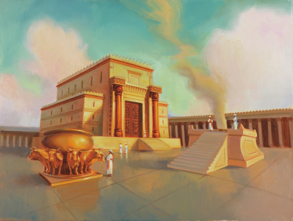 A painting by Sam Lawlor showing the ancient temple of Solomon, with a large altar and font near the entrance.