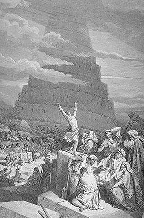 A black-and-white drawing by Paul Gustave Doré of people surrounding the Tower of Babel, with one man standing and raising his hands high in the air.