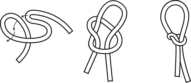 A black-and-white line drawing showing the three steps needed to tie a snare to be used as a trap.