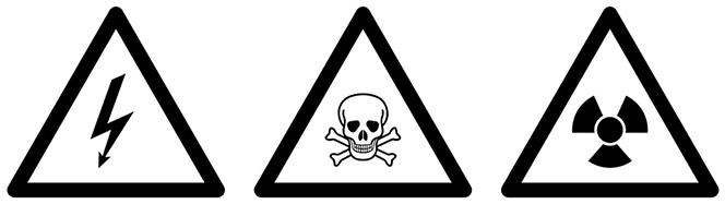 A black-and-white illustration of three common warning symbols: electrocution risk, poison, and radioactivity.